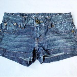 Guess Jeans Stretch Denim Shorts Mid Rise blue 27